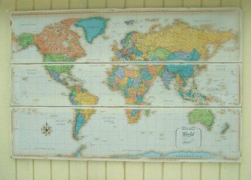 $195 beautiful 3 piece installation world map, mounted on wood.