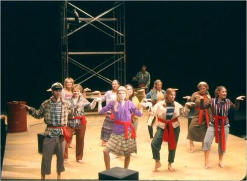 There's me in Godspell my freshman year of college.